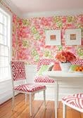 Thibaut Waterford Floral Wallpaper in Aqua and Blue